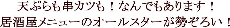 天ぷらも串カツも!なんでもあります!居酒屋メニューのオールスターが勢ぞろい!