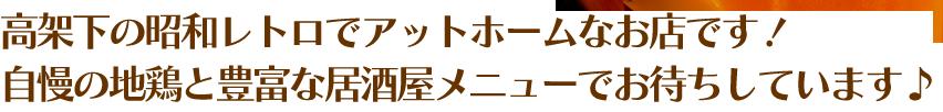 高架下の昭和レトロでアットホームなお店です!自慢の地鶏と豊富な居酒屋メニューでお待ちしています。